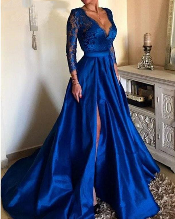 2019 Long Sleeve High slit Formal Evening Dresses Royal Blue Plus Size Sexy V-Neck Lace Party Prom Dr