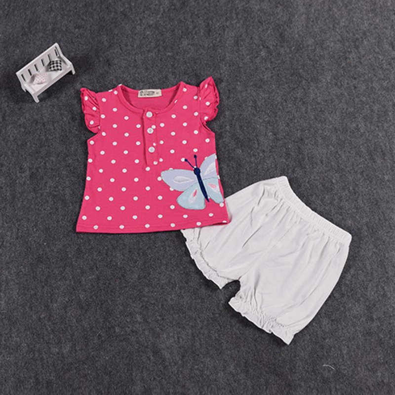 Kids Baby Girls Outfit Clothes T-shirt Dot Tops+Bloomers Pants Trousers 2PCS Set X16 2pcs children outfit clothes kids baby girl off shoulder cotton ruffled sleeve tops striped t shirt blue denim jeans sunsuit set