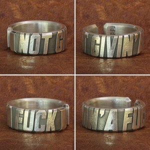 Image 2 - 999 Pure Silver Words Engraved Ring High Detail Mens Biker Rock Punk Ring 9Y018
