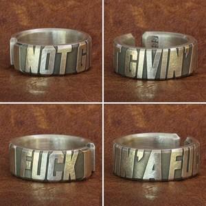 Image 2 - 999 мужское кольцо с гравировкой слов из чистого серебра, высококачественное мужское байкерское кольцо в стиле панк рок 9Y018