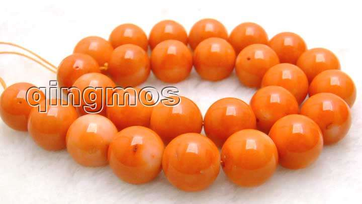 SALE Big 14-15mm high quality 100% round Orange natural Coral strand 15