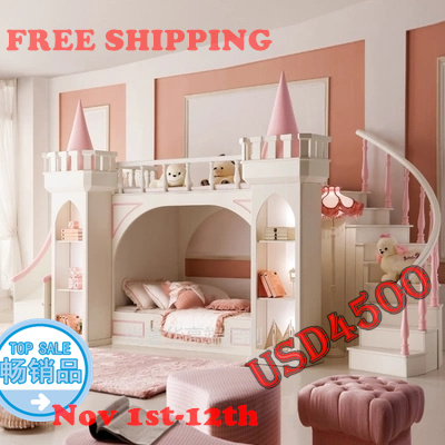 princess castle Bunk beds / Twin beds childrens furniture for girls with ladder, book cabinet and slides from China market