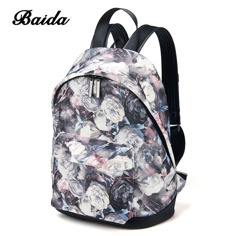 BAIDA Fashion Women Backpacks Cool Floral Print Laptop School Book Bags Travel Leisure Backpack for Girls Bookbag Rucksack big cool 3d animal owl men s backpack fashion leisure laptop backpacks for teenager school bags travel women s backpack