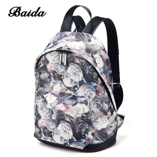 BAIDA Fashion Women Backpacks Cool Floral Print Laptop School Book Bags Travel Leisure Backpack For Girls