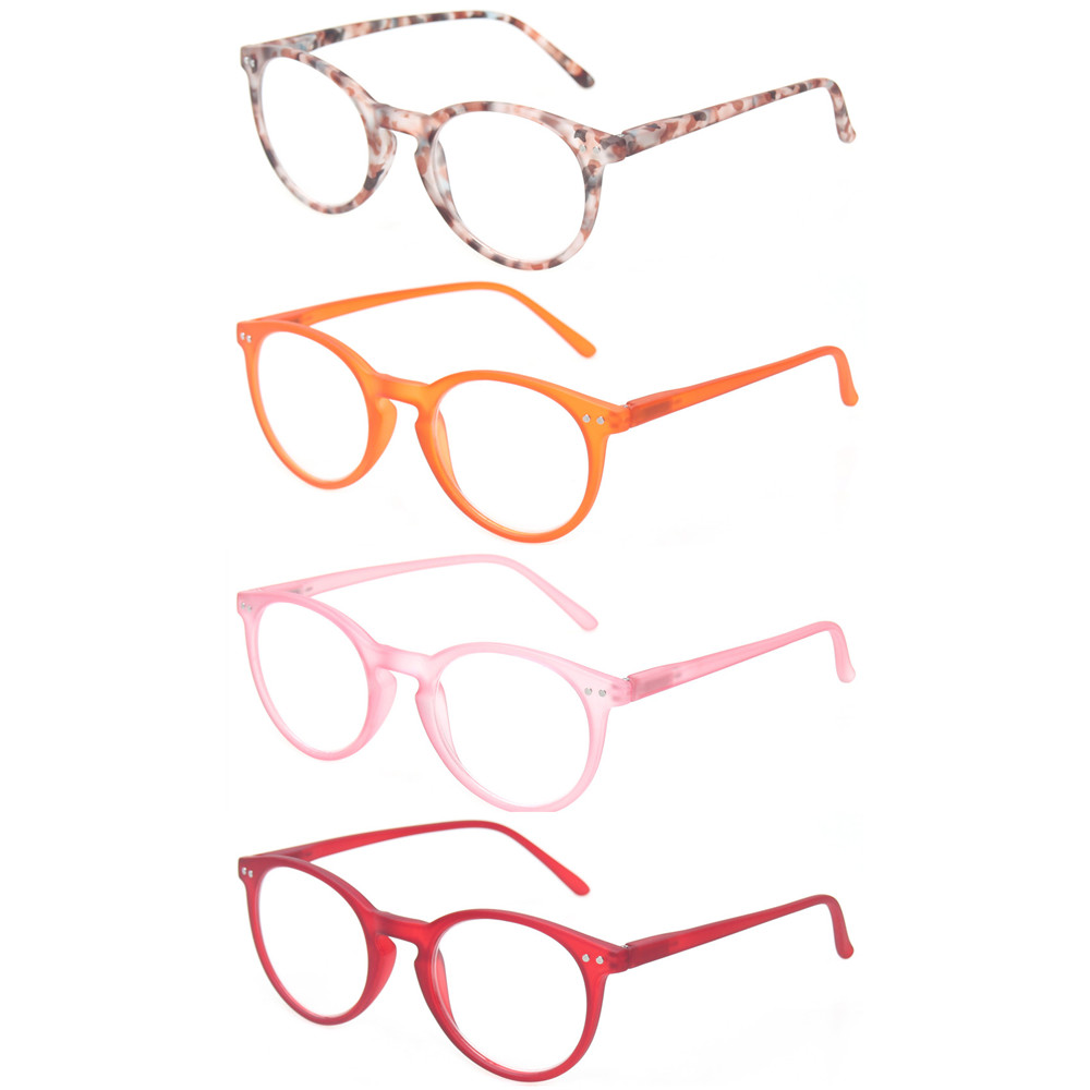 Reading Glasses 4 Pairs Fashion Spring Hinge Readers Quality Great Value Men And Women Color Eyewears Presbyopia Glasses