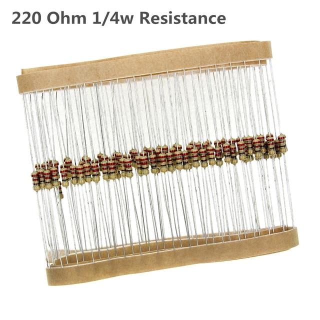 220 Ом 1/4 Вт Металл резистор Вт 0,25 Вт 5% 220OHM 100 шт./лот