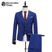 2017 Men's Royal Blue Suits With Pants Formal Dress Mens Stage Wear Clothing Men Slim Fit Shiny Wedding Suit DT123