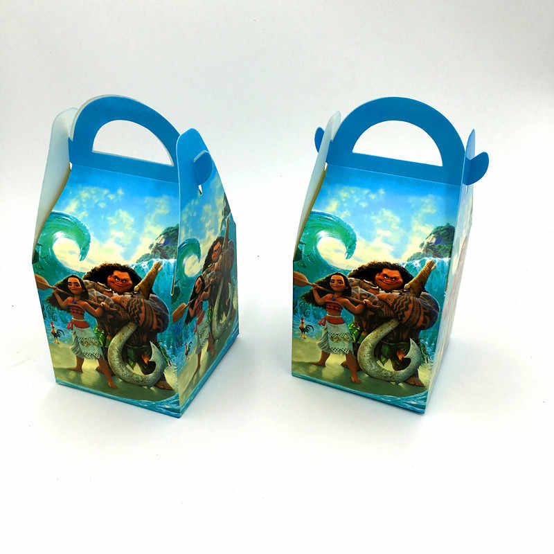 6pcs Lot Moana Hand Bags Candy Boxes Kids Birthday Gift Boxes Moana Paper Bags Happy Birthday Party Decoration Moana Gift Case