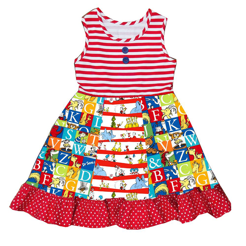 2019 summer new European and American pop baby girl clothes horizontal strip cartoon print girl sleeveless