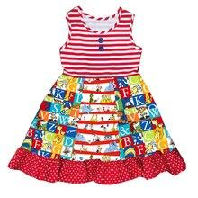 2019 Новая летняя одежда в европейском и американском стиле для маленьких девочек, платье трапециевидной формы без рукавов с принтом в горизонтальную полоску для девочек