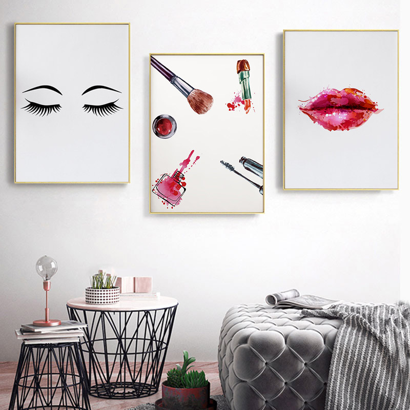 Fashion Wall Art Decor Eyelashes Lipstick Beautiful Illustration Salon Canvas Painting Poster Make Up Shop Girls Room Decor rustica mini noce slate 12 in x 12 in x 8 mm porcelain mosaic tile backsplash images