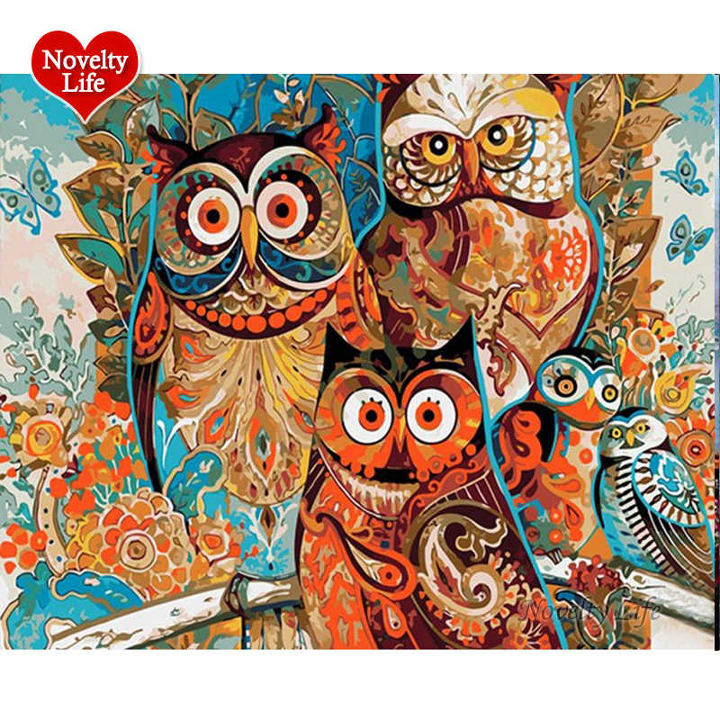 Colorful Owl DIY Painting By Numbers Kit Home Wall Art Decoration Handpainted Canvas Paint Gift For Living Room Framed Picture