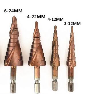 4pcs HSS M35 hex 1/4 shank HSS spiral flute M35 Co% step Drill Bits Set cone Step Drill Bit Set hole cutter for SS plate drill jelbo cone step drill hole tools countersink 3pc drill bit set power tools step drill bit for metal power tools set hole cutter