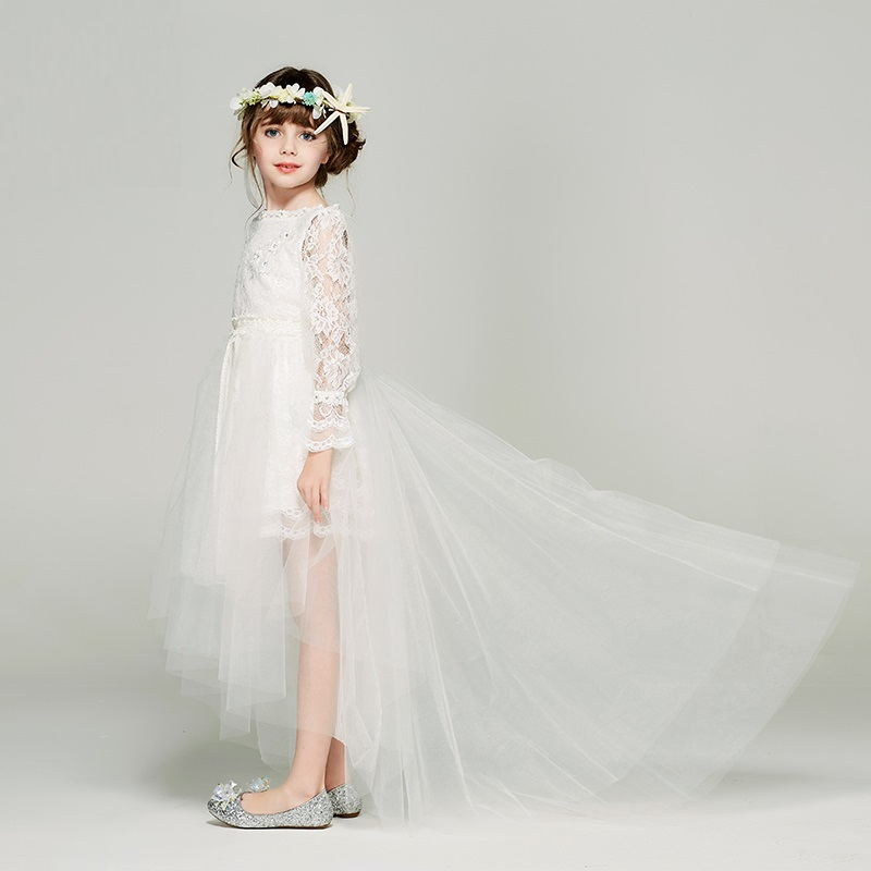 Wedding Dresses With Detachable Tail: Princess Children Lace Dress Flower Girl Wedding Dresses