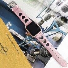 جلد حزام (استيك) ساعة ل أبل حزام ساعة اليد 38 مللي متر 42 مللي متر المرأة الرياضة سوار ل iwatch 5 4 3 2 1 معصمه