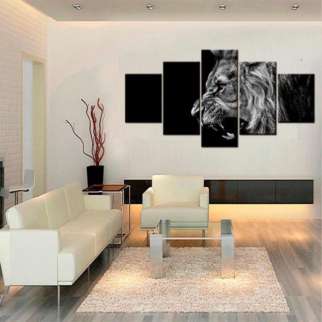 US $12.69 49% OFF|5 Panels Lion king leinwand kunst moderne abstrakte  malerei wandbilder für wohnzimmer dekoration bilder leinwand drucken in 5  ...