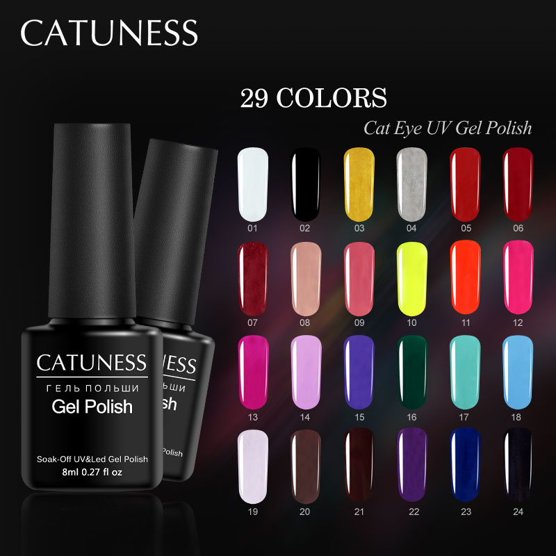 CATUNESS 29 Colors Lucky 3d Gel Semi Permanent French Acrylic Nails Long Lasting Nail Gel Soak Off Hybrid UV Gel Nail Polish elite99 29pcs set not moving cat eye gel 3d long stay cat eye effect nail gel polsih 10ml soak off uv gel lacquer semi permanent