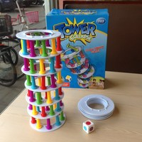 Candice guo plastic toy block Leaning Tower of Pisa style collapse crazy column game balance building model pillar baby gift set