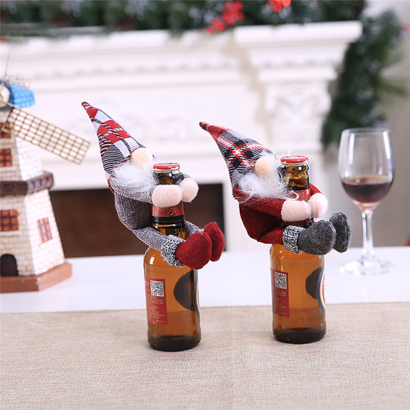2018 Merry Christmas Wine Bottle Cover Clothes Xmas Santa Snowman Wine Bottle Decor Party christmas decorations for home O17 (4)