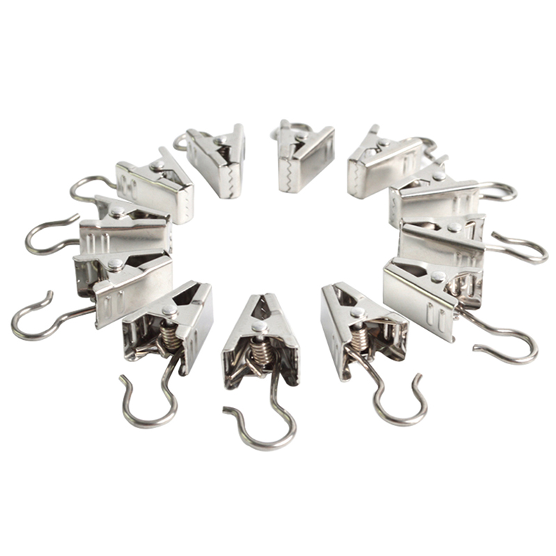 SAE Fortion New 10 Pcs Heavy Duty Curtain Clips W Hook - Silver/Black XN488