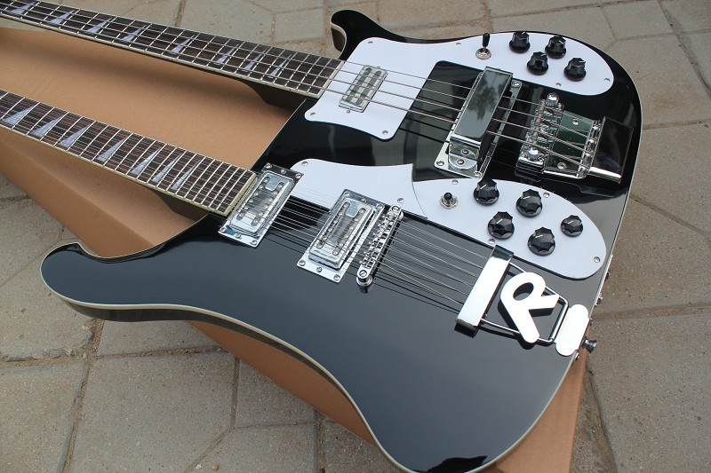 Wholesale Cnbald Double Necks Rick...r 4003 electric bass guitar + 12 string electric guitar in black 121218
