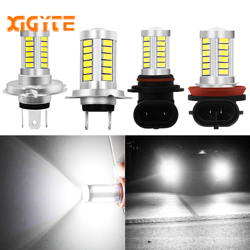 цена на H11 H8 H9 H4 9006 H7 LED Light Bulb 33 SMD Fog Driving DRL Lamp Auto Fog Lamp Car Bulb 6000K with LENS 5630 LED Chip Car Styling