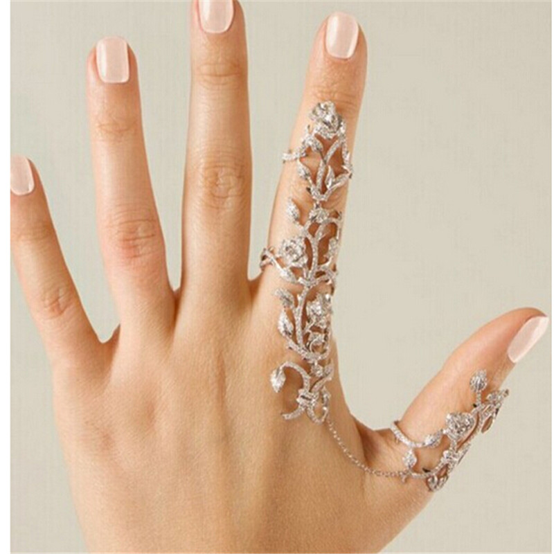 Fashion Accessories Chain Link Ring Full Rhinestone Vintage Flower ...