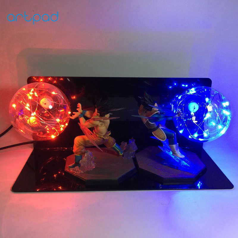 Artpad Action Figure Dragon Ball Light Double E27 Bulb Goku and Vegeta Lamp For Night Lighting Creative Gift for Boy Child Decor decor and gift