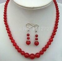 Mulheres palavra Dom de Amor mulheres Moda Jóias conjunto de Jóias Charming! nobre e Elegante 6-14mm Jóias gema Vermelha Colar/Brincos