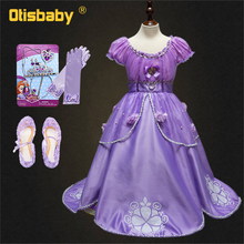 Holiday Fancy Girls Princess Sofia Dress Gowns Birthday Kids Floral Childrens Party Christmas Rapunzel Fantasia Infantil