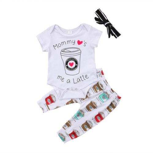 Sơ sinh Kid Baby Girl Mommy của Cốc cà phê Jumpsuit + Cà Phê Quần Outfit Set 2 cái Quần Áo Em Bé