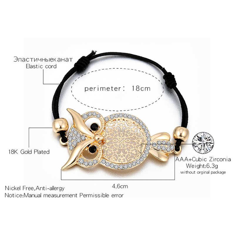 d5f8e8ddadac ... Gold Owl Charm Bracelet for Women Black Rope Chain Pulsera mujer CZ  Crystal Bracelet Femme Party ...