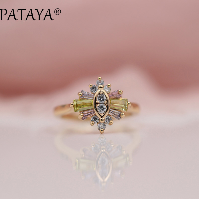 PATAYA New Arrivals 585 Rose Gold Ring Three-color Pink Square Natural Zirconia Rings Women Wedding Party Fashion Unique Jewelry