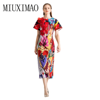 Runway 2019 Spring & Summer party dress Newest Fashion O Neck leopard dress Appliques floral Casual Elegant Long Dress Women