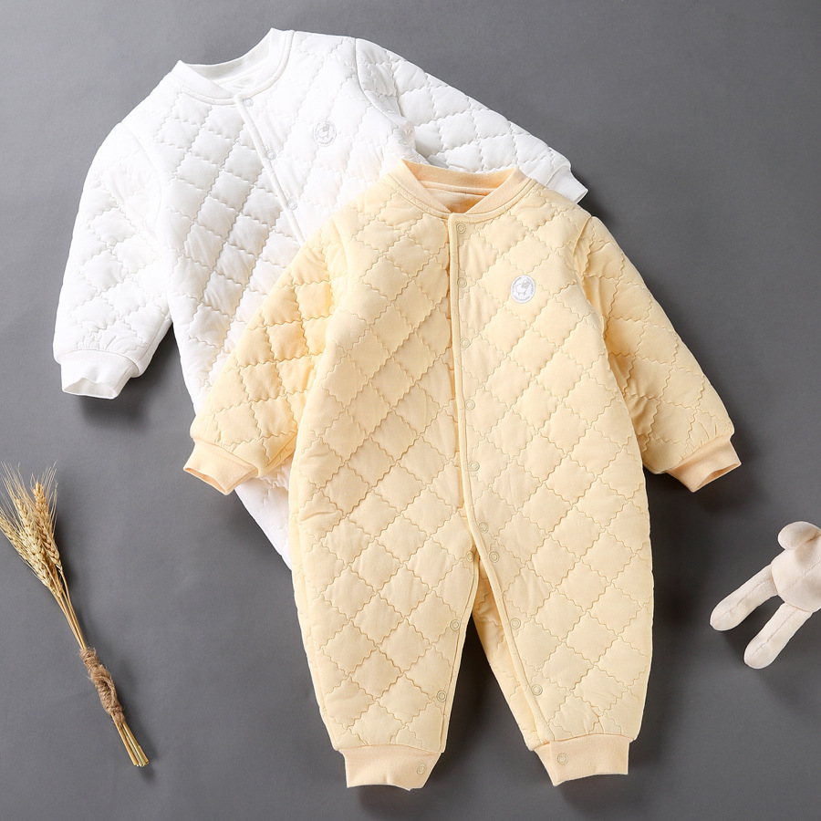 New Baby Winter Suit Clothing Long Sleeve Cotton-padded Romper Newborn Infant Toddler Jumpsuit Outerwear Overalls Yellow White newborn baby rompers baby clothing 100% cotton infant jumpsuit ropa bebe long sleeve girl boys rompers costumes baby romper