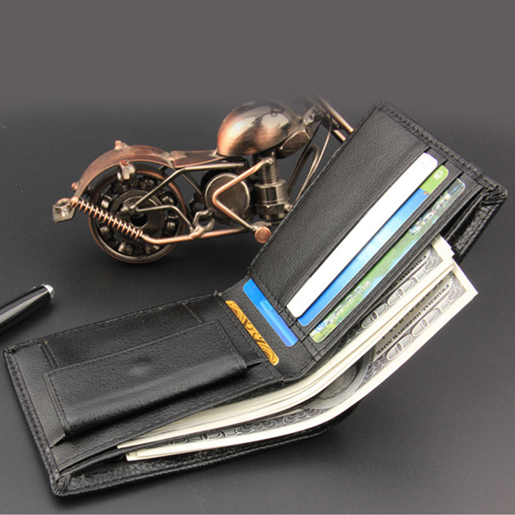 Pocket Bifold Card Holder Simple Slim PU Leather Gift Classic Purse Practical Portable Men Wallet Casual Coin