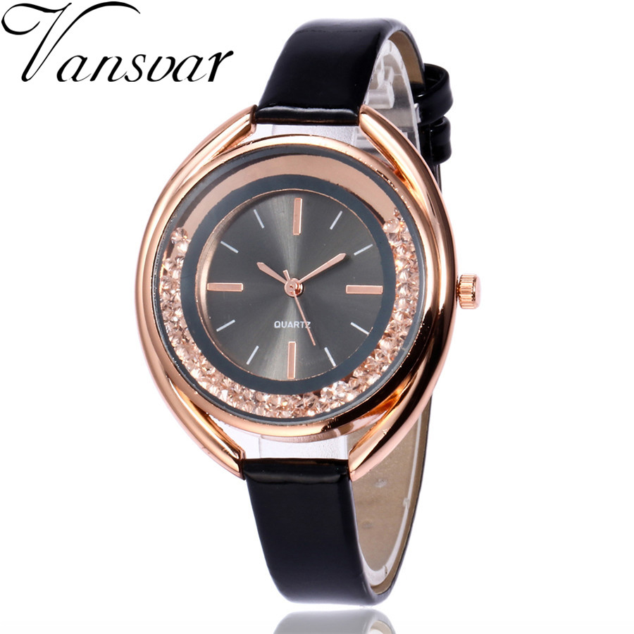 Vansvar Fashion Rhinestone Women Watches Casual Leather Quartz Watch Vintage Bracelet Clock Watch Gift Relogio Feminino 2111 vintage faux leather layered rhinestone bracelet for women