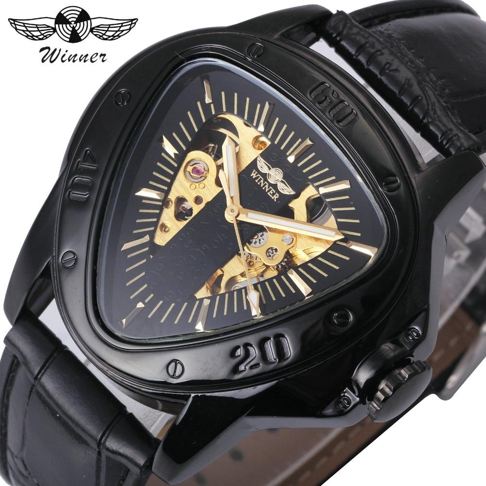 GEWINNER Automatische Mechanische Herrenuhr Racing Sport Design Dreieck Skeleton Armbanduhr Top-marke Luxury Golden Schwarz + Geschenkbox