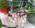 White Pearl Garnet Earrings