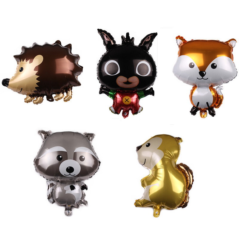Cartoon Hat  Jungle Hedgehog Fox Raccoon Balloons Cartoon Animal Aluminum Helium Balloon Birthday Safari Party Decor Classic Toy
