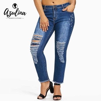 Plus Size Jeans Five Pocket Ladder Ripped Distressed Frayed Denim Women Pant