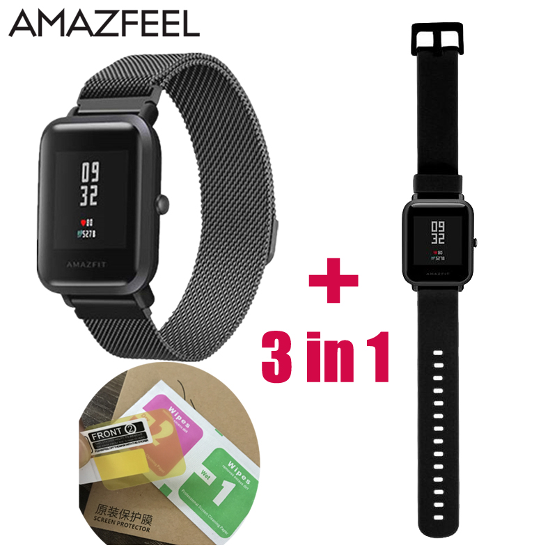 3in1 2pcs Screen Protector And 2pcs Watch Band Strap For Xiaomi Huami Amazfit Bip Strap Youth