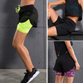 Women shorts 2 in 1 Anti-bacterial Breathable Running Fitness Sports Shorts Breathable Female Yoga Shorts Feminino