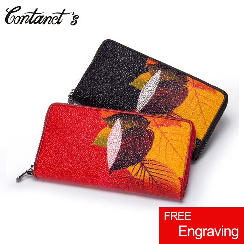 2018 New Women Clutch Wallet Zip-around Coin Purse Maple Leaf Embossed Design Wristlet Bag For Phone Genuine Leather Card Holder yuanyu 2018 new hot free shipping real python leather women clutch women hand caught bag women bag long snake women day clutches