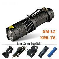CREE XM L2 Mini Led Waterproof Flashlight 3800 Telescoping Lumens Lanterna Torch Use 18650 Rechargeable Battery