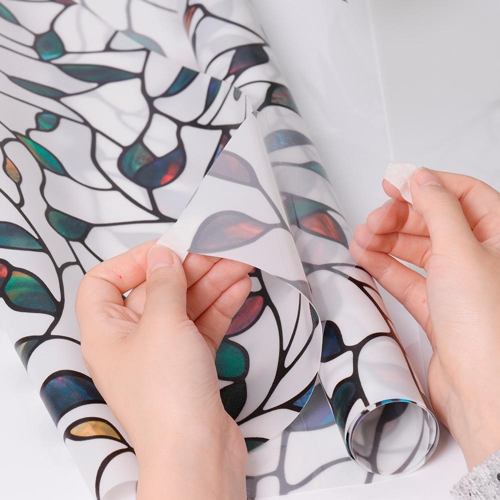 Feuille colorée statique s'accrochent décoratif vitrail Film vie privée Films texturé fenêtre autocollants longueur 100 cm largeur 92 cm