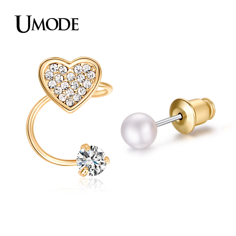 font b UMODE b font Trendy Ear Cuff Gold Plated Simulated Pear CZ Rhinestones Heart