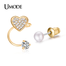UMODE Trendy Ear Cuff  Gold Plated Simulated Pear & CZ  & Rhinestones Heart Shaped Cuff Earrings For Women AUE0182