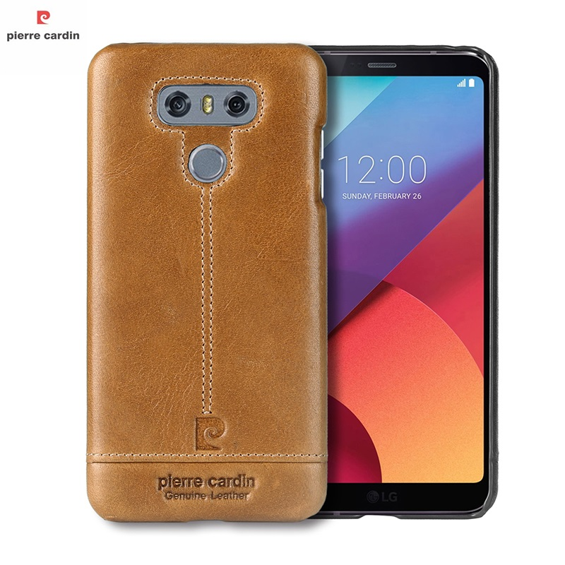 Pierre Cardin For LG G6 Case Cover Luxury Original Genuine Leather Phone Case Bags For LG G6 Ultra Thin Hard Back Cover Coque