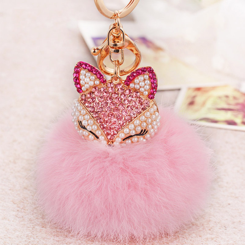 2017 New Artificial Rabbit Fur Ball Keychain Rhinestone Crystal Fox Head Pompon Trinket Key Chain Handbag Fluffy Key Ring Holder 3